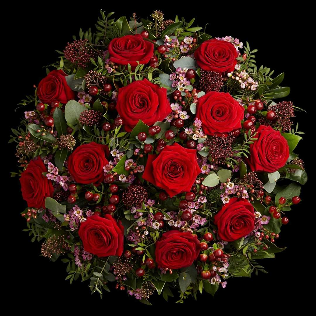 Full Monty - Rose Bouquet-12 Stunning Long Stemmed Red Roses, Mixed Foliage & Fluffy Fillers. Gorgeously Gift Wrapped